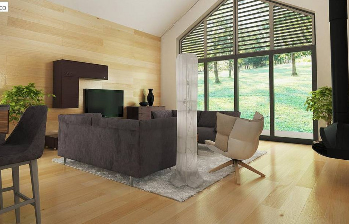Z402 - Стильный одноэтажный дом с панорамным остеклением в гостиной