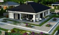 Z443 - Современный одноэтажный дом с тремя спальнями и гаражом на одну позицию.