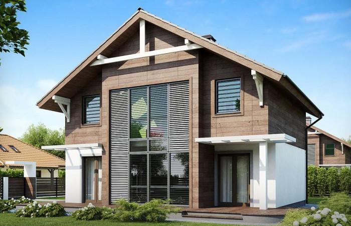 Z47 - Проект двухэтажного дома с большой площадью остекления.
