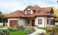 Z58 - Проект просторного и уютного дома с гаражом, эркером, красивыми мансардными окнами.