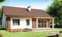 Z61 - Аккуратный одноэтажный дом простой формы с двускатной крышей.