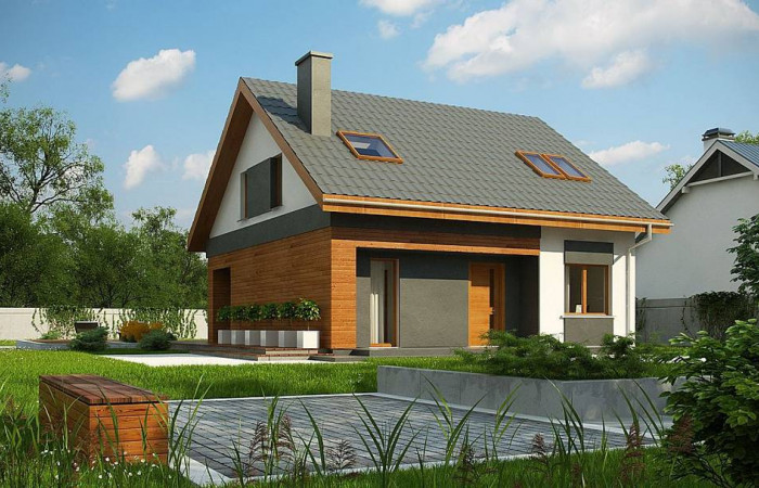 Z62 A minus - Традиционный дом с мансардой и терассой в современном стиле.