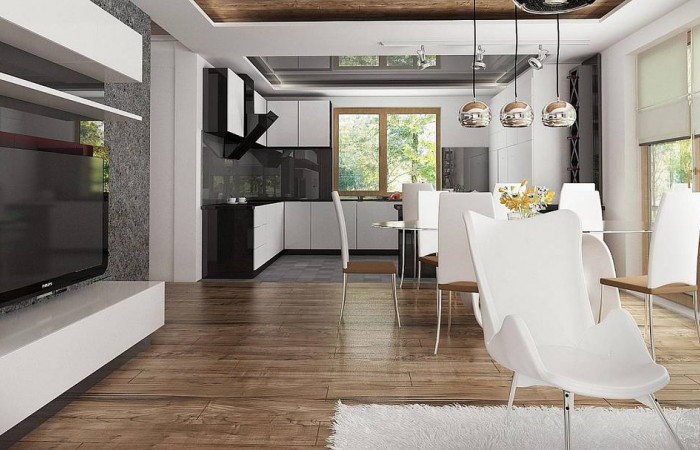Z67 - Проект комфортного дома с большим гаражом и дополнительной спальней на первом этаже.