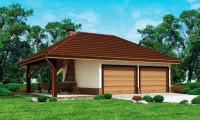 Zg24 - Проект красивого гаража для двух авто с боковой террасой