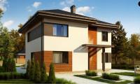 Zz1 - Проект современного двухэтажного дома с двумя комнатами на первом этаже.