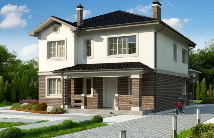 Zz2 L BG - Проект двухэтажного дома в классическом стиле с дополнительной спальней на первом этаже.