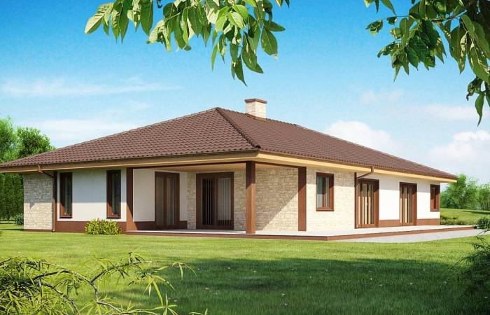Z82 - Комфортабельный одноэтажный дом для продольного участка с большим гаражом, с возможностью обустройства мансарды.