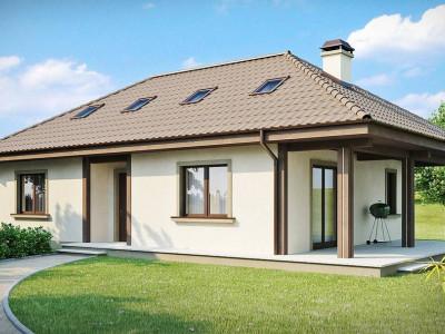 Z85 - Проект практичного функционального дома с крытой боковой террасой и дополнительной гостиной на мансарде.