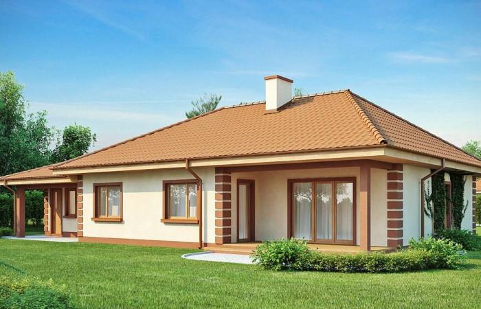 Z86 - Стильный традиционный одноэтажный дом с гаражом для двух машин.