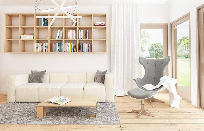 Z96 - Проект одноэтажного дома с фронтальным выступающим гаражом и возможностью обустройства мансарды.