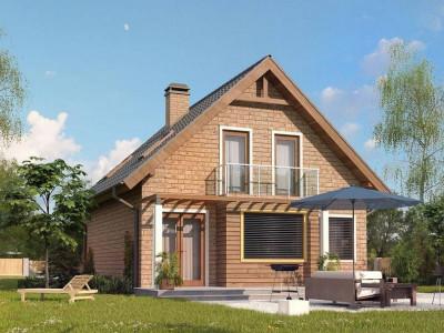 Z99 k - Аккуратный дом с мансардой в кирпичной облицовке. Версия проекта Z99.